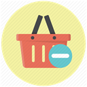 Basket, Cart, delete, remove, shopping basket, remove from cart, remove from basket PaleGoldenrod icon