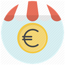 shopping, store, Currency, Euro, Shop, Cash, Money Lavender icon