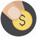 Hand, Money, payment, Euro, Shop, coin, buy DarkSlateGray icon