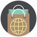 shop worldwide, shopping, Bag, world, globe, paper bag, Shop DarkSlateGray icon