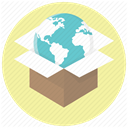 globe, world, package, international delivery, Shipping, shippment, shipping worldwide PaleGoldenrod icon