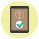 order, approve, confirm, ipad, Application, delivery app, shopping app PaleGoldenrod icon