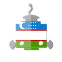 telegram, ub, flag, bot, Uzbekistan, robot Black icon