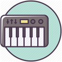 Device, piano, synthesizer, music, electronics, Appliances PowderBlue icon