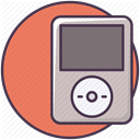 player, music, Audio, technology, electronics, ipod, sound Salmon icon