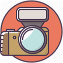 Device, Camera, Flash, electronics, Appliances, Photographer Salmon icon