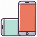 phone, mobilephone, smartphone, telephone, Iphone, rotate, Device Salmon icon