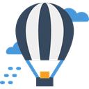 travel, transportation, flight, hot air balloon, transport, Air balloon DarkSlateGray icon