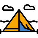 Tent, rural, travel, Camping, woods, Forest, nature Black icon