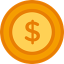 Dollar, coin, Cash, Money, Business And Finance, Currency, Business DarkOrange icon