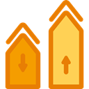 Stats, real estate, graph, finances, statistics, graphical, investment, Business DarkOrange icon