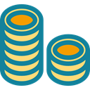 stack, Business And Finance, Coins, Cash, Currency, Money, Business DarkCyan icon