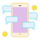 Mobile, Chat, talk, Communication, smartphone, Bubble Thistle icon