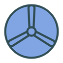 fan, shape, Brand, Disk CornflowerBlue icon