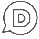 single, Chat, Brand, d, Letter, Circle Black icon