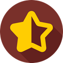 half, shapes, shape, Stars, signs, symbols, Empty, star, symbol, Half star SaddleBrown icon
