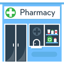 Pharmacy, buildings, signs, medicine, Healthcare And Medical, sign DarkSlateGray icon