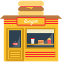 buildings, Eat, Burguer, food, Building, Fast food Goldenrod icon
