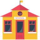 college, education, university, High School, buildings, school Goldenrod icon