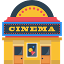 technology, movie, film, buildings, cinema, Building Goldenrod icon