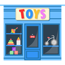 Chilhood, buildings, Shop, Child, toys, Building LightSkyBlue icon