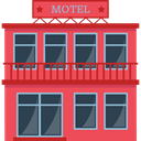 Building, motel, buildings, Accomodation, lodging Tomato icon