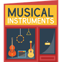 musical, Building, buildings, instrument, Shop, music DarkSlateGray icon
