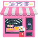 sugar, Candy Shop, food, sweet, Building, buildings, Candies, Dessert HotPink icon