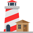 buildings, tower, Orientation, Guide, Lighthouse Black icon