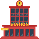Train Station, station, train, buildings, transport, transportation, Public transport IndianRed icon