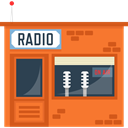 broadcasting, technology, radio, station, Communication, Broadcast, buildings Tomato icon