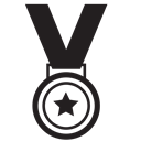 star, gold, medal, award, winner Black icon