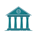 graphic, Building, Money, chart, banking, Bank, Business Teal icon