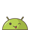 Android, happy, mood, joke, Mobile, Emoji, tounge Black icon