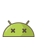 crash, Mobile, bug, Emoji, mood, Dead, Android Black icon