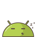 Mobile, robot, Sleeping, tired, Android Black icon
