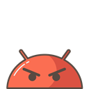 Emoji, robot, Android, Mobile, Angry, upset, mood Black icon