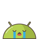 robot, Mobile, Emoji, sad, Android, Crying, mood Black icon