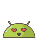 Emoji, love, Mobile, mood, robot, Android, lovely Black icon