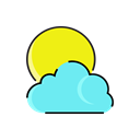 Cloud, Rain, sun, Cloudy, meteorology, weather Black icon