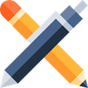 Office Material, School Material, Business And Finance, Pen, writing, pencil, Tools And Utensils Black icon