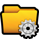 Folder, Gear, Control, preferences, win, settings, documents Gold icon