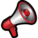 Broadcast, Announce, megaphone, Message Black icon