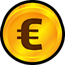 Finance, Euro, Currency, payment, coin, Money Orange icon