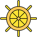 Boat, ship wheel, ship, wheel Black icon