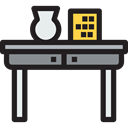 table, Office Material, Furniture And Household, furniture, desk Black icon