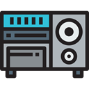 electronic, speakers, Device, electronics, music player, Cd player, technology Black icon
