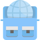 internet, travel, Backpack, worldwide LightSkyBlue icon