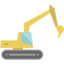 transport, Construction, transportation, Bulldozer, Excavator Black icon