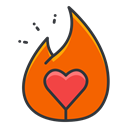 tinder, Social, media, network, Ember OrangeRed icon